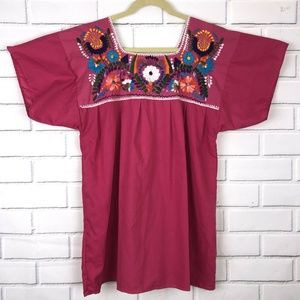 Vintage Mexican Embroidered Shirt Pink Floral L/XL